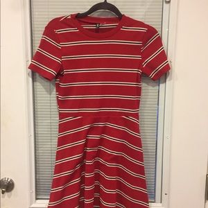 Red, white, and black striped H and M mini dress
